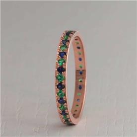 טבעת אירוסין משובצת 2 צבעים