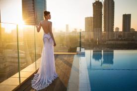 שמלת כלה גב פתוח כתפיות דקות