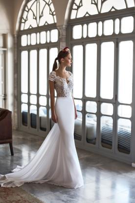 שמלת כלה שיפון משי ותחרה