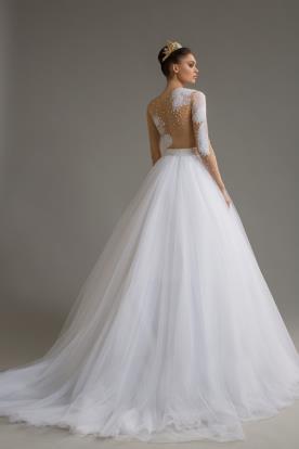 שמלת כלה טופ עם דוגמת נוצות
