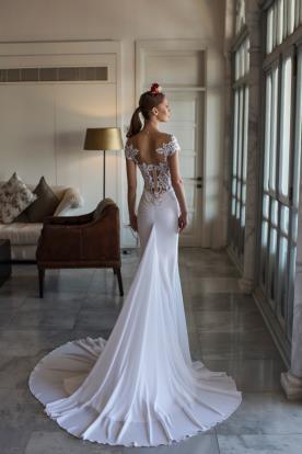 שמלת כלה שובל שיפון עגול