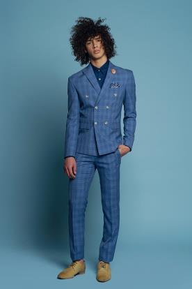 חליפת חתן משובצת כחולה