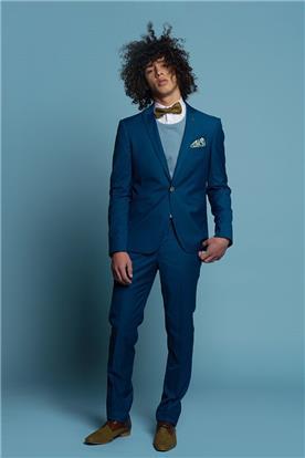 חליפת חתן: חולצה, חליפת שני חלקים, חליפה בגזרה ישרה, חליפה בדוגמה חלקה, חליפה בצבע כחול - באמוס סקוור - Bamoss square