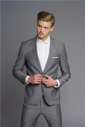 חליפת חתן: חולצה, וסט, חליפת שני חלקים, חליפת שלושה חלקים, מכנסיים, בלייזר, חליפה בגזרה ישרה, חליפה בדוגמה חלקה, חליפה בצבע אפור - באמוס סקוור - bamoss square