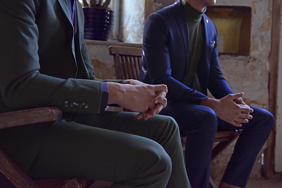 חליפת חתן: חולצה, חליפת שני חלקים, חליפת שלושה חלקים, מכנסיים, חליפה בגזרה רחבה, חליפה בדוגמה חלקה, חליפה בצבע אפור, חליפה בצבע כחול - באמוס סקוור - Bamoss square