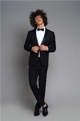 חליפת חתן: חולצה, וסט, חליפת שני חלקים, חליפת שלושה חלקים, מכנסיים, בלייזר, חליפה בגזרה ישרה, חליפה בדוגמה חלקה, חליפה בצבע שחור - באמוס סקוור - Bamoss square