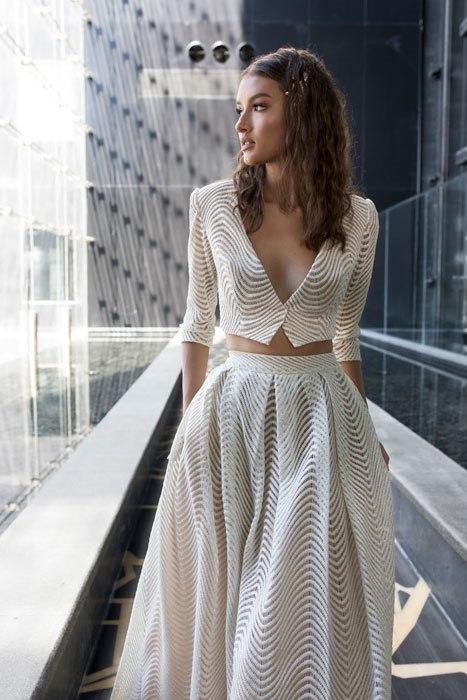 שמלת שני חלקים עם שרוול ארוך