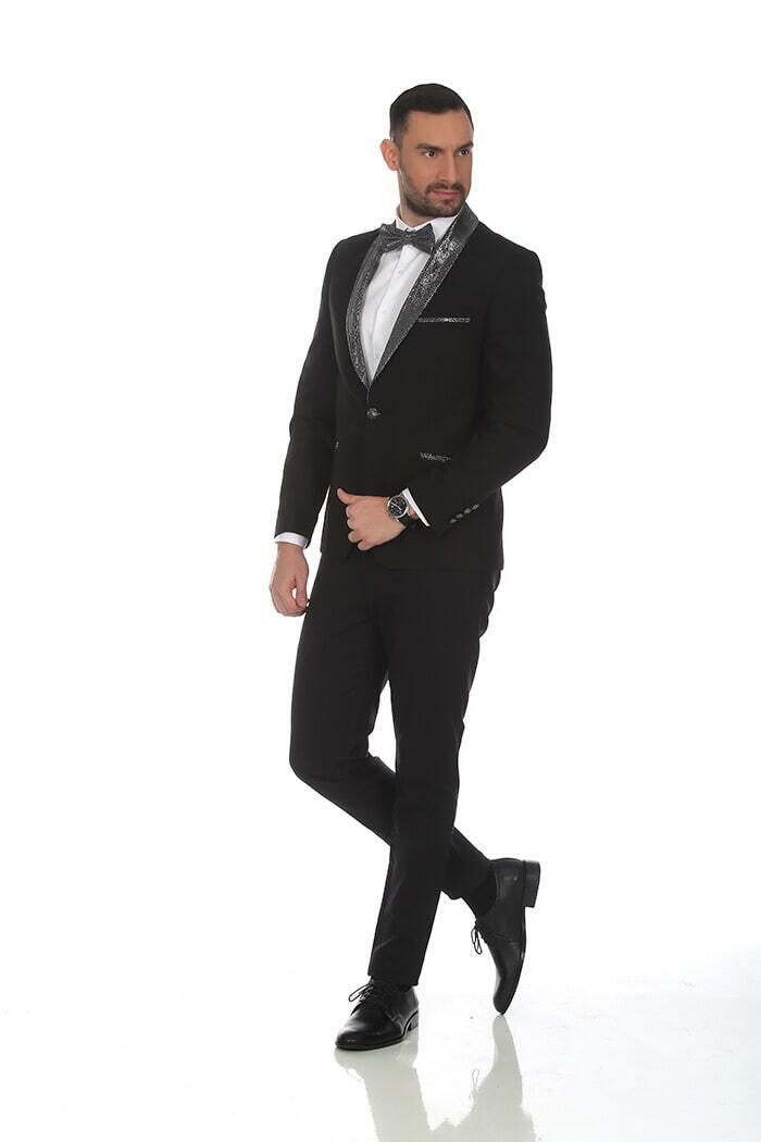 חליפת חתן: קולקציית 2019, חליפת שלושה חלקים, חליפה בגזרה ישרה, חליפה בדוגמה חלקה, חליפה בצבע שחור - N.B.O  חליפות חתן