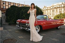 שמלת כלה: שמלה בסגנון רומנטי, שמלה עם תחרה, שמלה עם מחשוף, שמלה עם שובל, שמלה בצבע לבן - ROZAN רוזאן