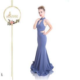 שמלת ערב: שמלה בסגנון רומנטי, שמלה עם מחשוף, שמלה בצבע סגול - ROZAN רוזאן