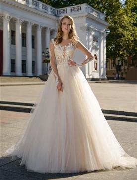 שמלת כלה: שמלה בגזרה נשפכת, שמלה עם כתפיות דקות, שמלה בסגנון רומנטי, שמלה עם תחרה, שמלה עם מחשוף, שמלה בצבע לבן - ROZAN רוזאן