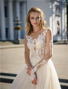 שמלת כלה: שמלה בסגנון רומנטי, שמלה עם תחרה, שמלה עם מחשוף, שמלה עם שרוולים, שמלה בצבע לבן - ROZAN רוזאן
