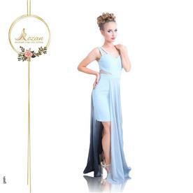 שמלת ערב: שמלה בסגנון רומנטי, שמלה עם מחשוף, שמלה בצבע תכלת, שמלת מקסי - ROZAN רוזאן