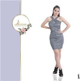 שמלת ערב: שמלה עם כתפיות עבות, שמלה בסגנון רומנטי, שמלה עם מחשוף, שמלה בצבע אפור, שמלת מקסי - ROZAN רוזאן