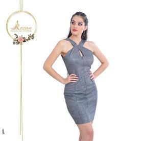 שמלת ערב: שמלה עם כתפיות עבות, שמלה בסגנון רומנטי, שמלה עם תחרה, שמלה עם מחשוף, שמלה בצבע אפור - ROZAN רוזאן