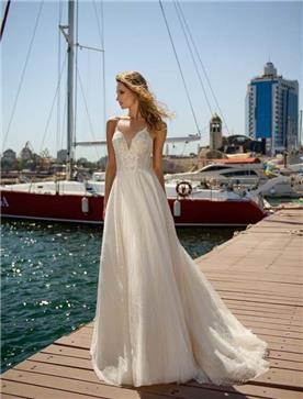 שמלת כלה: שמלה עם כתפיות דקות, שמלה בסגנון רומנטי, שמלה עם תחרה, שמלה עם מחשוף, שמלה בצבע לבן - ROZAN רוזאן