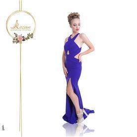 שמלת ערב: שמלה עם כתפיות עבות, שמלה בסגנון רומנטי, שמלה עם מחשוף, שמלה עם שסע, שמלה בצבע סגול - ROZAN רוזאן