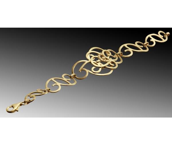 צמיד זהב מעוטר ספירלות