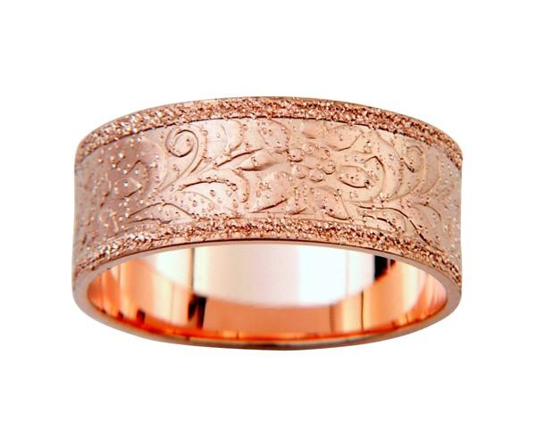 טבעת נישואין זהב אדום מנוצנצת