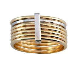 טבעת משולבת זהב לבן וצהוב
