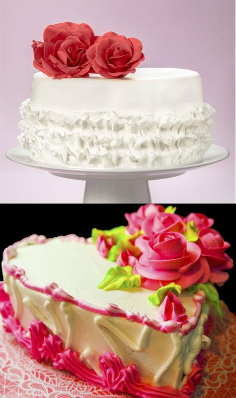 עוגות חתונה מקרם מקושטות בזילופים מעוצבים