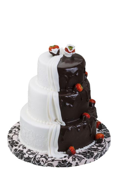 עוגת חתונה בשחור ולבן