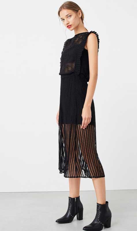 שמלת ערב שחורה משיפון ורשת