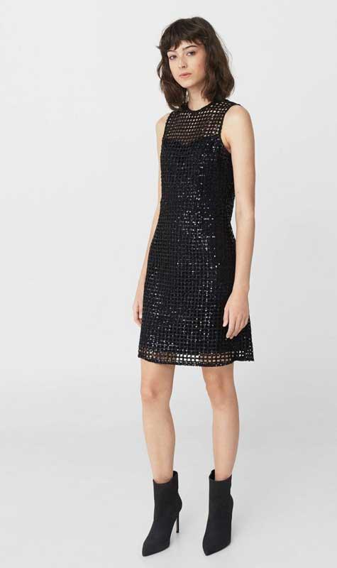 שמלת ערב שחורה בשילוב רשת