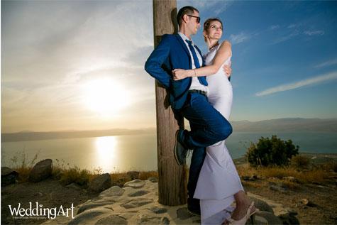 צילום על רגע השקיעה לתמונת חתונה