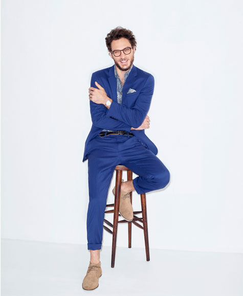 חליפת חתן בצבע כחול-סגול