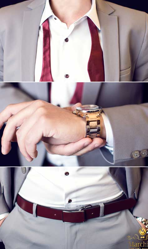 חליפה אפורה עם עניבה בצבע בורדו