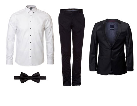 חליפת חתן בסגנון קלאסי בצבעי שחור ולבן
