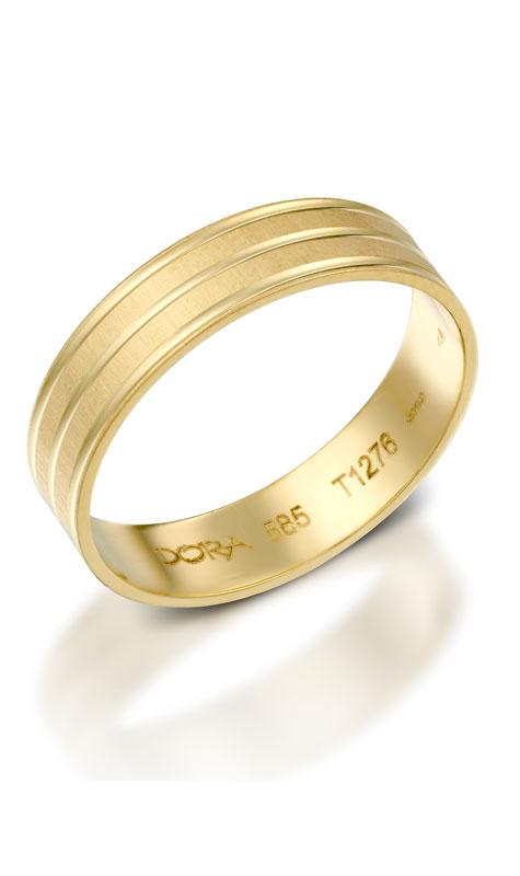 טבעת נישואין מזהב צהוב עם פסים