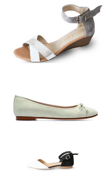 נעלי כלה עם עקב נמוך במיוחד/ שטוחות