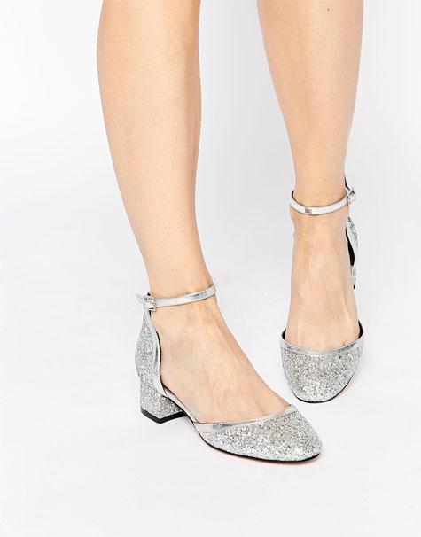 נעלי כלה כסופות ושטוחות