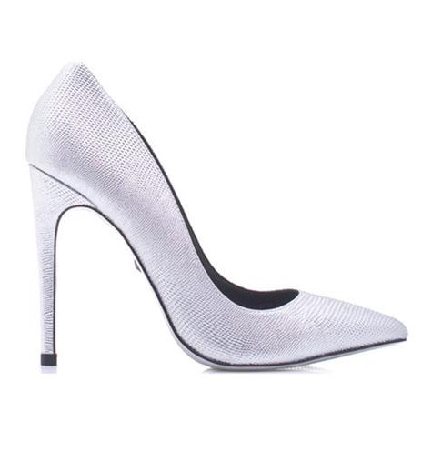 נעל עקב קלאסית לכלה בלבן מוכסף