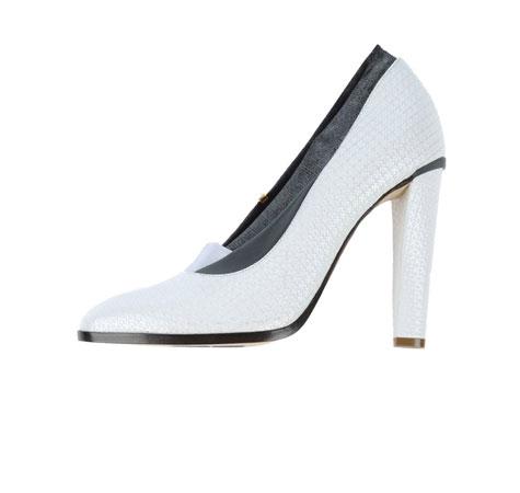 נעל עקב לבנה בעיטור מוזהב ודוגמת עור - לכלה
