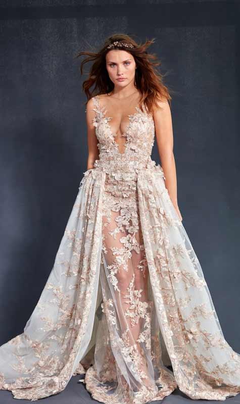 שמלת כלה בשילוב תחרה ופרחים