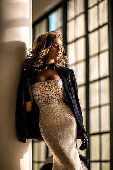 שמלת כלה צמודה סטרפלס