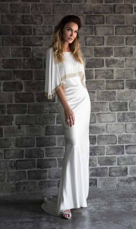 שמלת ערב לבנה בקו הגוף