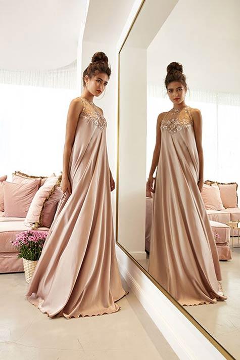 שמלת ערב בבד נשפך ועשיר