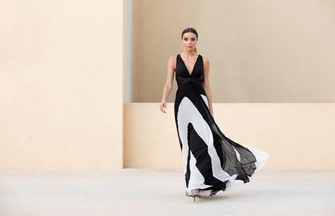 שמלת ערב בצבעי שחור לבן
