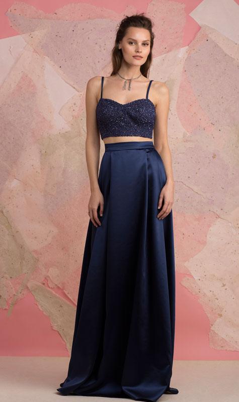 שמלת ערב כחולה בשני חלקים