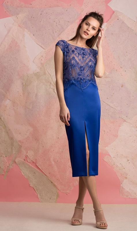 שמלת ערב כחולה בשני חלקים, בשילוב תחרה