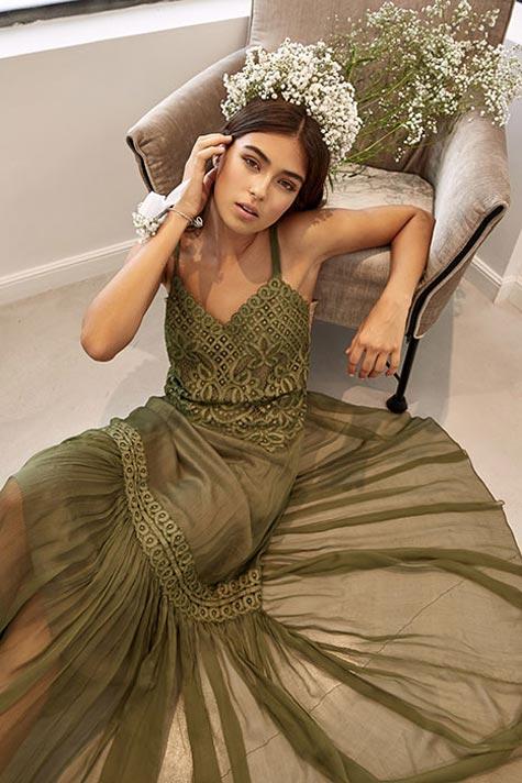 שמלת ערב בצבע ירוק זית