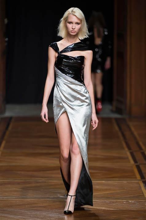 שמלת ערב כסופה בחלק עליון שחור