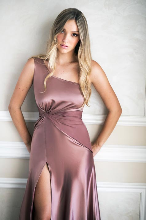 שמלת ערב בצבע ניוד ורדרד