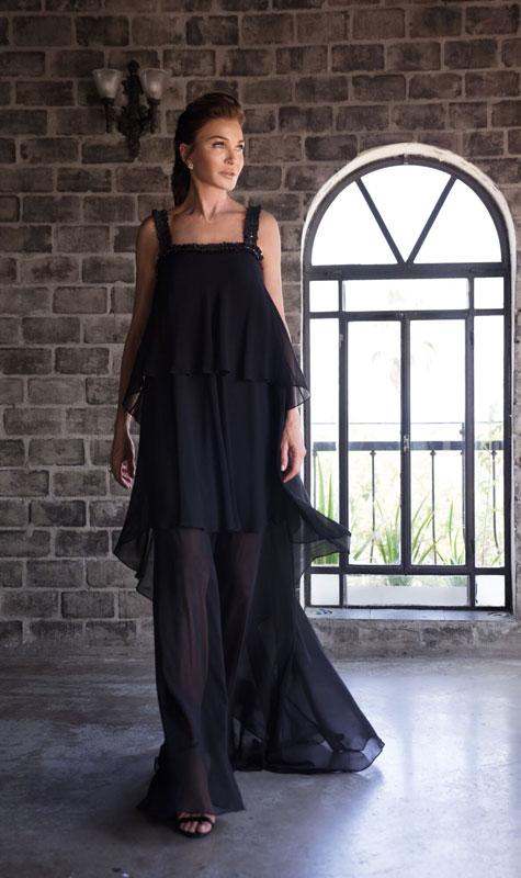 שמלת ערב כתפיות שחורה