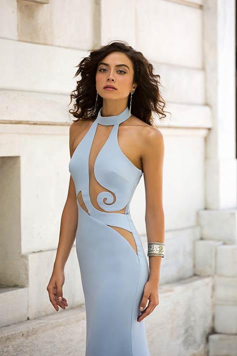 שמלת ערב בתכלת פסטרולי