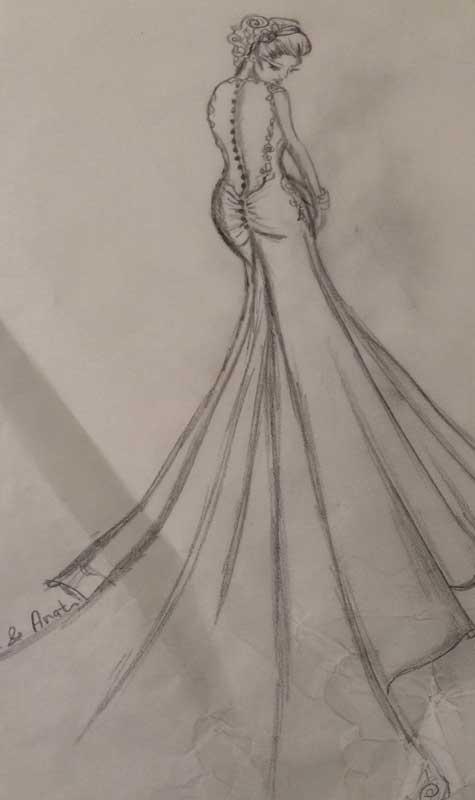 סקיצת שמלת כלה, נעמה וענת